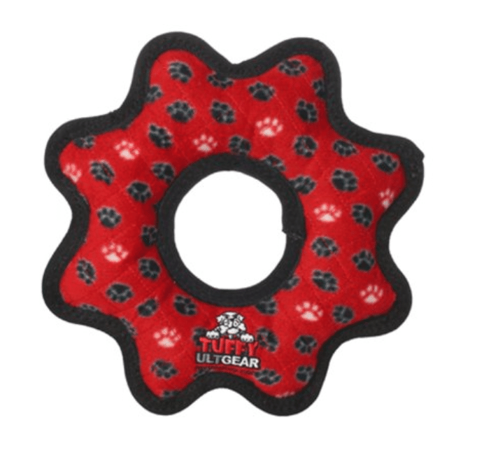 The Tuffy Red Ring Paw Dog Toy